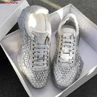 Diseño de lujo de tacón grueso zapatos de remache de la Plataforma de las mujeres zapatos remaches de las mujeres zapatos deportivos zapatos de cuero ocasionales de las señoras zapatos de entrenamiento