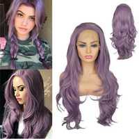 Precio de fábrica 1 pc de moda de las mujeres dama púrpura largo rizado ondulado frente de encaje pelo 24 pulgadas Cosplay pelucas soporte surtido Feb20