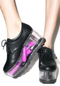 Zapatos de plataforma transparente de mujer de estilo dulce suave negro/Whtie de cuero de mujer con cordones zapatos casuales de plataforma alta zapatos de primavera
