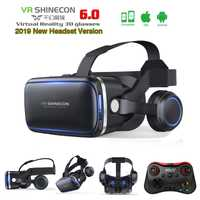 Original VR Shinecon 6,0 auriculares versión gafas de realidad Virtual 3D cascos caja para xiaomi Samsung Teléfono + controlador + Gamepad 2,0