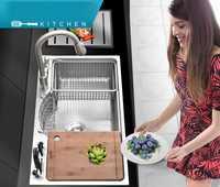 Fregadero de cocina multifuncional de acero inoxidable 304 escurridor de dibujo cepillado con juego de bloques Knift de grifo caliente y frío