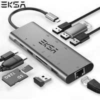 EKSA USB HUB USB C a HDMI RJ45 9 en 1 USB 3,0 HUB para MacBook Samsung Galaxy S10 huawei Mate 20 P20 Pro tipo C USB 3,0 HUB