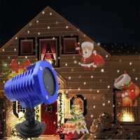 Proyector LED Navidad láser copo de nieve proyector luz 8 patrones impermeable jardín césped Navidad Anime decoración luces MYC