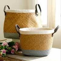 Mimbre tejido cesta de almacenamiento con asas cestas de algas marinas de paja, cesta de mimbre, planta de flor cesta cestos decorative
