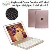Nueva 7 colores luz retroiluminada teclado inalámbrico Bluetooth caso de la cubierta para el aire del iPad 2 para iPad 5 6 nuevo 2017 9,7 pulgadas + Stylus + film