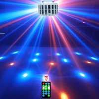 Profesional LED disco efecto de etapa de la lámpara iluminación de la luz del efecto del partido 9 color RGB par luz DMX iluminación láser con control remoto contro