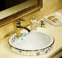 Semi-integrado Taichung lavabo lavabo del arte de cerámica redondo lavabo wc