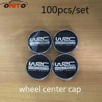 Venta al por mayor 100x60mm negro WRC coche rueda Centro cubo Cap Auto insignia emblema cubre estilo