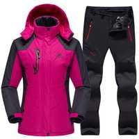 Traje de esquí a prueba de las mujeres pantalones de chaqueta de esquí de mujer de invierno de esquí al aire libre de nieve Snowboard chaqueta de lana pantalones de Snowboard juegos