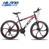 HILAND 26 ''bicicleta de montaña 21/27 VELOCIDAD DE ACERO bicicleta doble freno de disco MTB horquilla de suspensión de bicicleta con Shimano TZ50