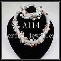 Hecho a mano de perlas de concha collar conjunto de joyas de pulsera de 8mm redondo de concha de perla 24 filas broche de imán perfecto regalo de las mujeres A114