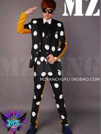 S-5XL 2019 nueva moda de los hombres Slim GD 2 PM DJ negro blanco mosaico amarillo traje de abrigo cantante trajes de los hombres rendimiento traje de chaqueta
