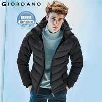 Giordano hombres chaqueta de los hombres 90% contenido ganso blanco abajo desmontable chaqueta hombres calidad caliente capucha cremallera abrigo a prueba de viento de invierno