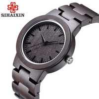 SIHAIXIN nuevo reloj analógico negro Natural de sándalo para hombre Simple de bambú de madera de cuarzo hombre de moda erkek saat para envío directo