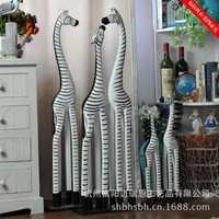Creativa hogar decoración animal de madera cebra estatuilla artes y artesanías de madera fotografía ajuste salón figurines