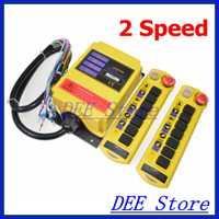 Envío libre 2 velocidad 2 transmisores de control grúa Radios Control remoto interruptor controlador del sistema con e-stop