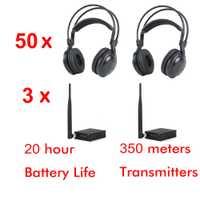 500 m 3 Canal Bajo bajo fuerte clásico auriculares silenciosos del disco paquete (50 piezas auriculares y 3 transmisores)