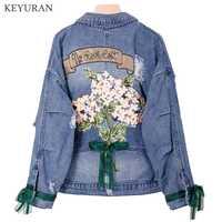 Gran 5XL bordado Denim Mujer chaqueta de primavera estación europea Casual suelto corto Jeans abrigo mujer Harajuku Retro prendas de vestir exteriores