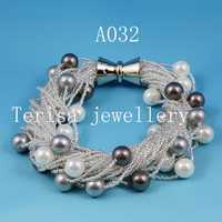 Hecho de perlas joyería 8mm ronda mar Concha perla pulsera 24 filas broche de imán perfecto cumpleaños regalo de las mujeres