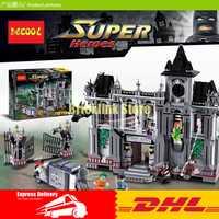 DHL Decool 7124, 1619 piezas súper héroes serie Batman Arkham Asylum fuga de modelo de construcción bloques compatible 10937