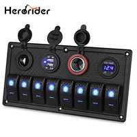 6/8 Gang LED COCHE barco camión impermeable Rocker interruptor Panel 3.1A Dual USB toma de corriente voltímetro 12 V encendedor de cigarrillos