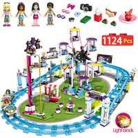 1124 piezas niñas bloques Compatible LegoINGLY amigos 41130 Parque de Atracciones Montaña Rusa figura modelo juguetes Hobbie los niños