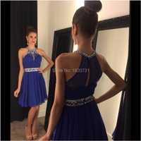 Sexy corto azul real Chiffon graduación de vestidos 2019 Halter con reborde Correa chicas de la Universidad de cóctel corto vestidos de graduación