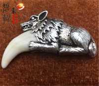 S925 plata pura hombre pico collar modelado de hueso dientes de plata incrustación Wolf adornos perro
