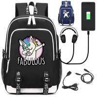 Unicornio divertido DAB mochila con puerto USB y bloqueo y auriculares