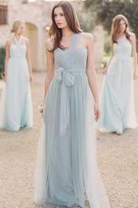 Salvia un hombro dama de honor vestido una línea de longitud hasta el suelo tul largos vestidos de fiesta formales para boda Simple dama de honor honor