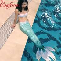 Juego de 3 piezas de cola de sirena para adultos natación con Monofin sirena traje de baño cola femenina para adultos natación sexy vestido de perla sujetador las mujeres
