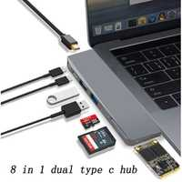 Basix Dual USB-C Hub a Mini adaptador DP 5 K 60 hz soporte SSD expansión con la policía de datos/TF ranura para lector SD USB 2,0/3,0 para MacBooK pro