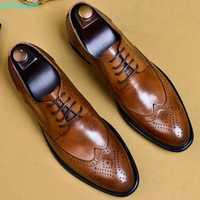 QYFCIOUFU 2019 nouveaux hommes chaussures habillées en cuir véritable homme Oxford italien classique Vintage chaussures à lacets hommes richelieu US 11.5