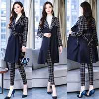 2018 Otoño e Invierno conjunto de dos piezas de las mujeres de moda coreana Plaid fajas trinchera y completa pantalones trajes de oficina trajes