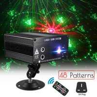 48 patrón Proyector láser remoto/Sonido de control de luz de la etapa efecto RGB fiesta de DJ discoteca luz de la decoración de la Navidad