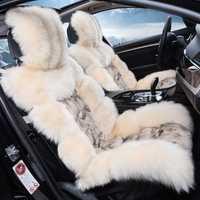 Perfil bajo de lujo piel de oveja cubierta de asiento de coche cojín lleno lana cubierta de asiento de coche cómodo 5 asientos cubre para 1 Conjunto