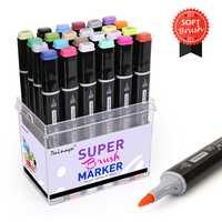 Dainayw 24 colores cepillo suave conjunto de marcadores a base de Alcohol dibujo pluma marcadora para Manga diseño de dibujo profesional, suministros de arte