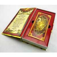 Anime japonés caliente 56 unidades Sakura Cardcaptor Magic Clow Cards Set con oro Clow libro Regalo de Cumpleaños colección de Juguetes