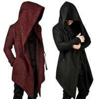 Goths Bandage Trench hombre otoño negro ropa de abrigo novedad Punk manga larga Color sólido hombres con capucha Irregular dobladillo chaqueta