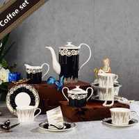 China de hueso juego de té Tea pot tazón Suger olla la leche vajilla conjunto completo vajilla diseño blanco y negro copa y Sauer