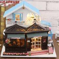 Casa de madera, el tiempo de tallado, juguetes para niños, regalo de cumpleaños, casa de muñecas en miniatura, casa de muñecas DIY con muebles, regalos para niños