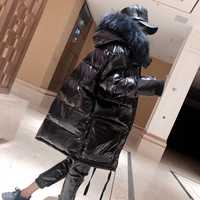 Brillante impermeable abrigo de invierno chaqueta Parka Natural Collar de piel de mapache con capucha Chaqueta de algodón gruesa chaqueta caliente abrigos