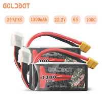 2 unités GOLDBAT Lipo batterie 1300 mAh 6 S lipo Drones batterie 22.2 V 100C Pack avec prise XT60 pour Drones course FPV vélo de route