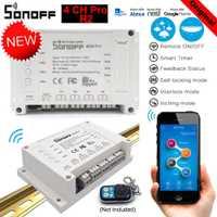 Sonoff 4CH Pro R2 casa inteligente Wifi interruptor 4 empujando de auto-bloqueo Bloqueo de Control interruptor inteligente App interruptor remoto