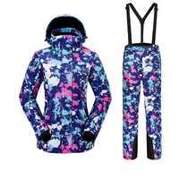 Traje de esquí deportes al aire libre impermeable a prueba de viento caliente secado rápido transpirable chaqueta de esquí pantalones Suspender tamaño S-XXL