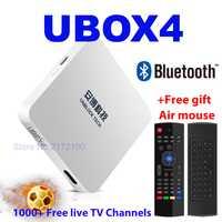 Desbloquear UBOX4 UBOX 4 negro UPRO OS Android gratis caja de IPTV Smart TV BOX Bluetooth HD 4 K 1000 en canales de televisión PK UBOX 4