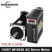 ¿130ST-M10025 2.6KW 220 V AC Servo motor de 2600 W 2500 RPM 10N? -Fase ac imán permanente coincidentes conductor AASD-30A