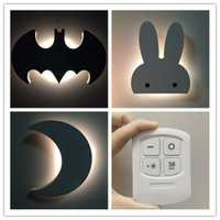 Pared lámpara de noche LED lindo aprendizaje lectura lámpara de pared 110 ~ 220 V inalámbrico de pared dormitorio Iluminación pared luminarias