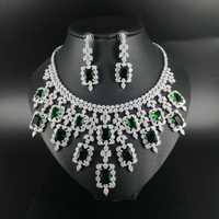 2019 nueva moda vintage de lujo cuadrado verde CZ zircon de oro, collar, pulsera, pendiente, anillo de la boda vestido de novia conjunto de joyas