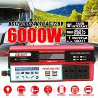 6000 W Watt 4 USB pantalla LCD DC 12 V/24 V a AC 220 V cargador de inversor de corriente del coche adaptador de convertidor de onda sinusoidal modificada de transformador